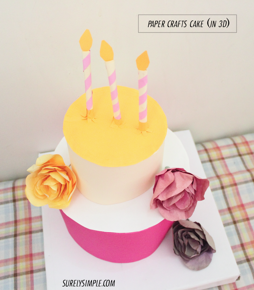 paper crafted cake with paper roses1