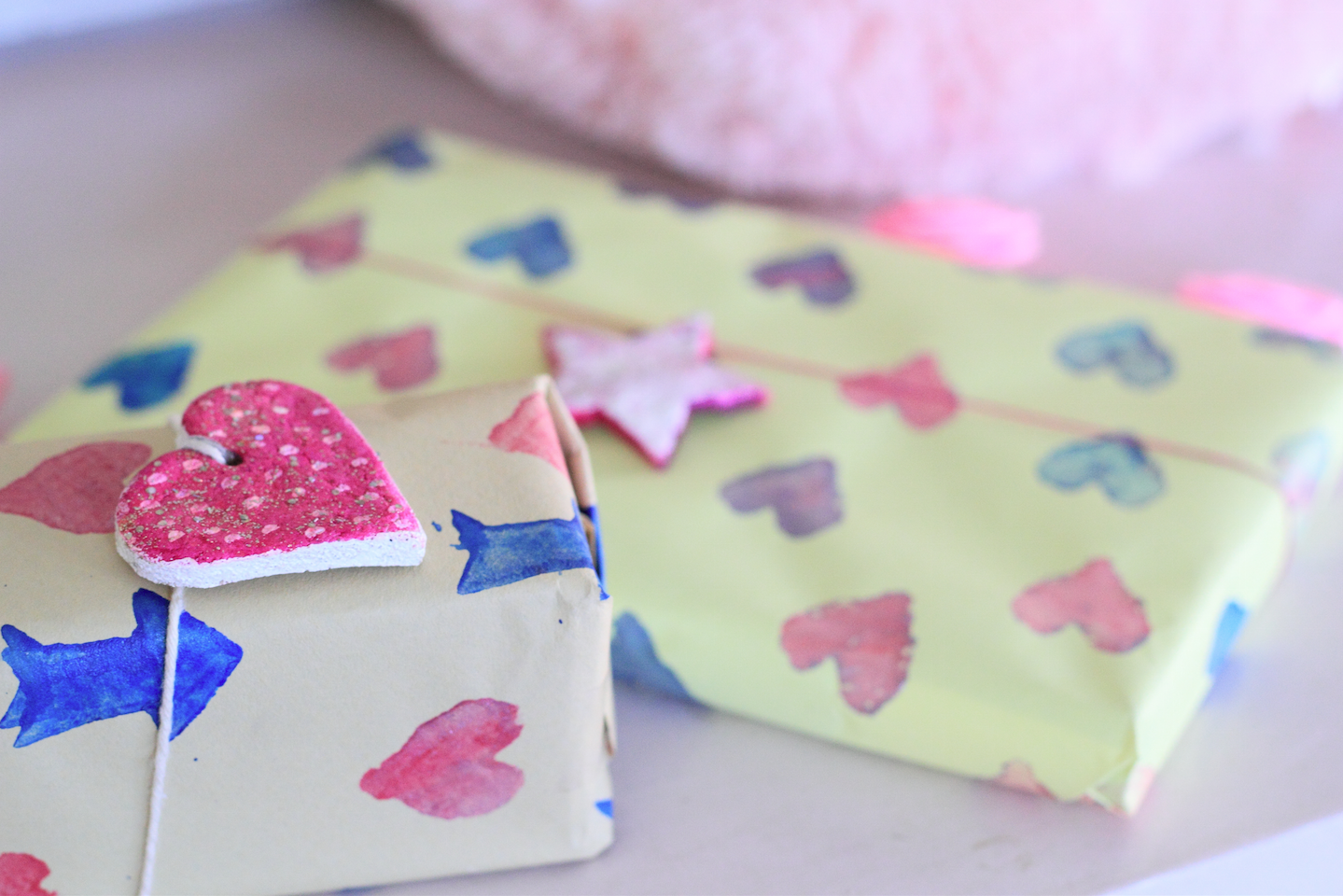 pretty simple gift wrap with tags