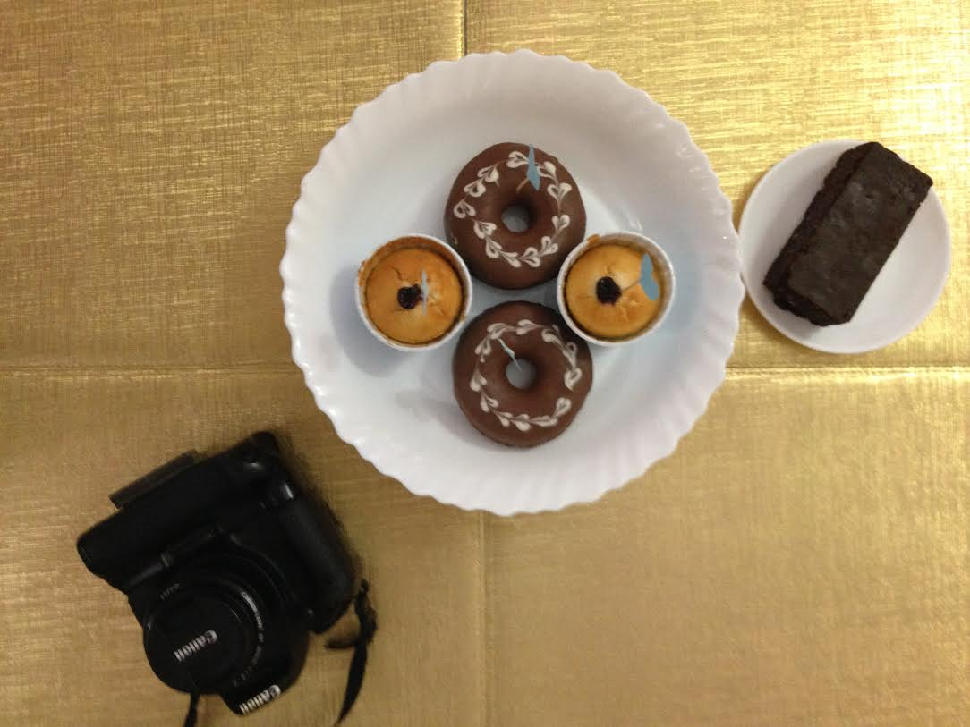 camera doughnuts brownies
