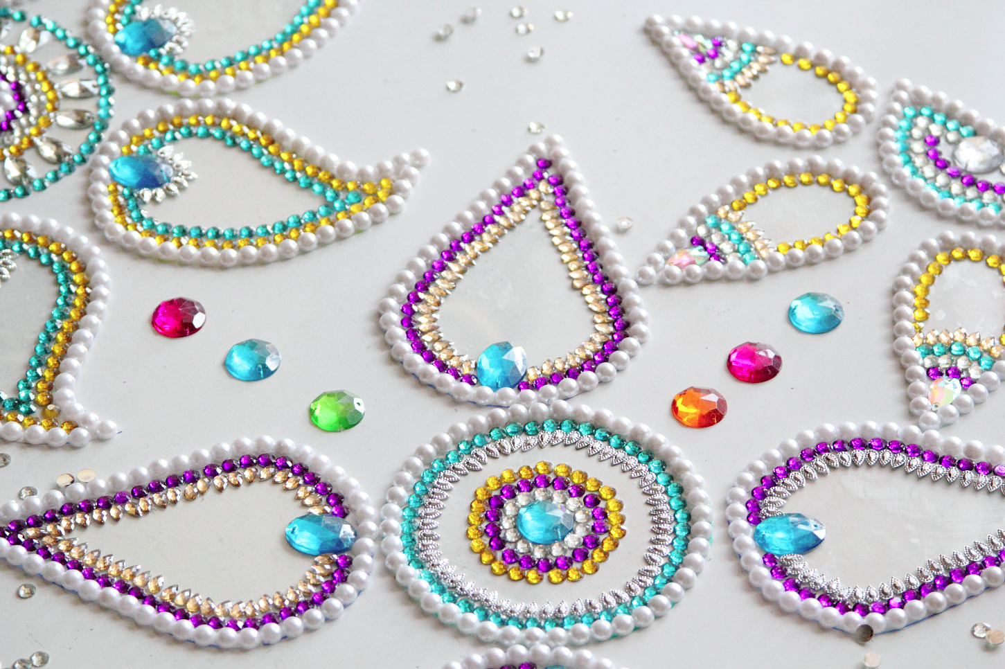 diy gemstone rangoli inspired wall decor