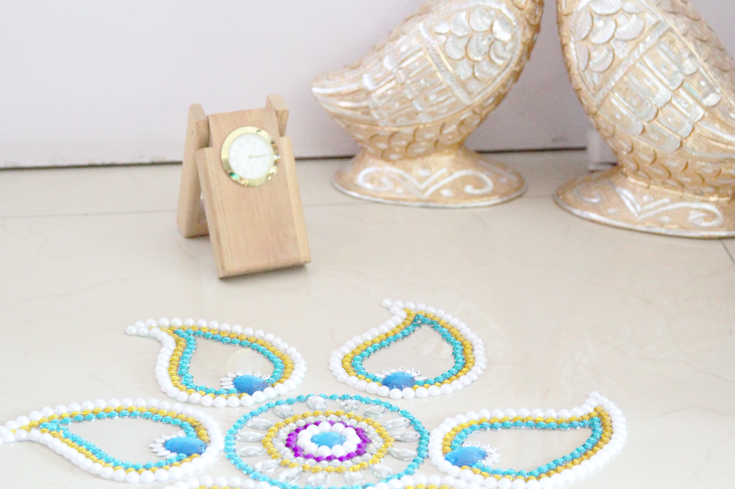 diy gemstone rangoli inspired decor