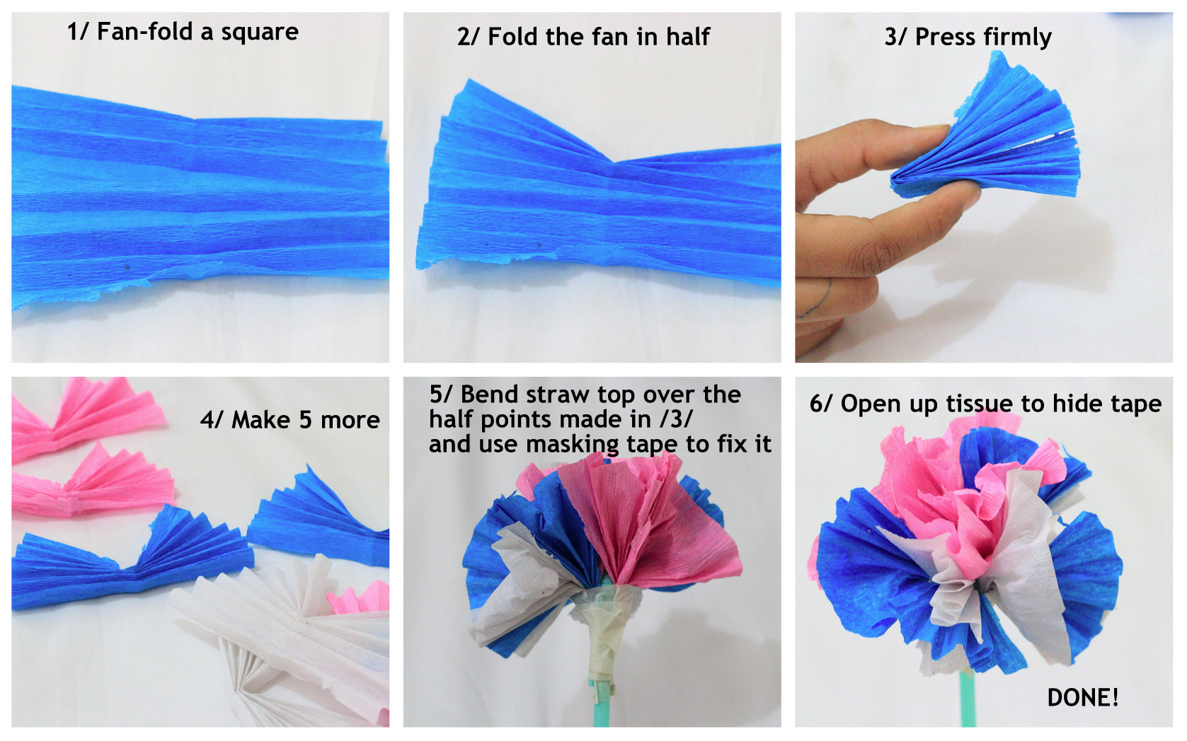 Tissue Paper Flower Instructions Samannetonic