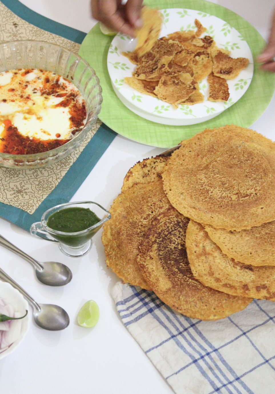 Savoury Pancakes with Spicy Seasoned Yoghurt via www.surelysimple.com