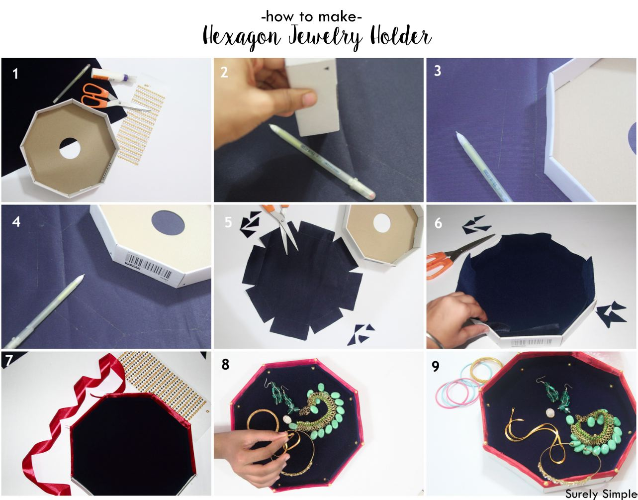 DIY Hexagon Jewelery Holder via www.surelysimple.com