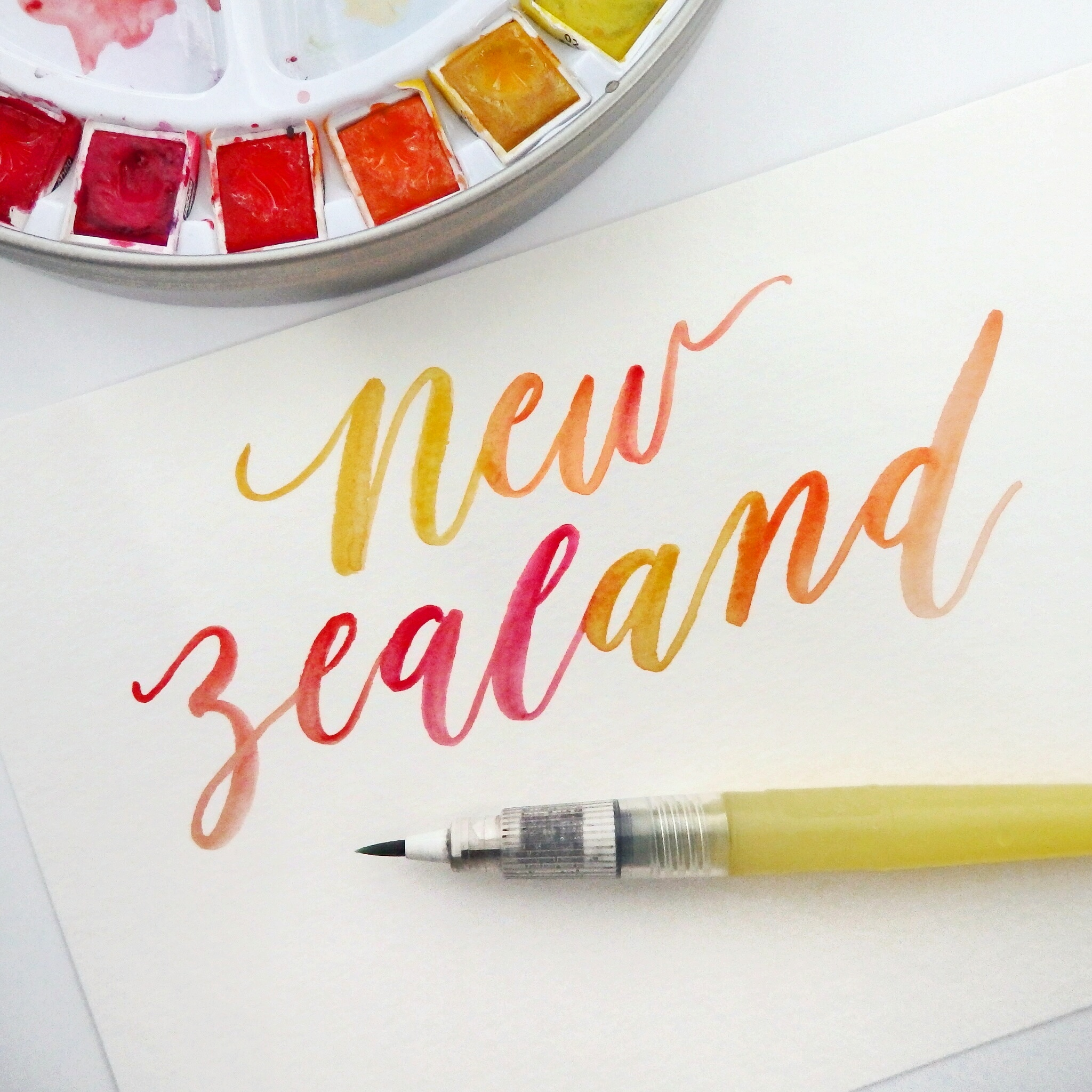 Brush Lettering with watercolour, gouache and sumi ink - the basics