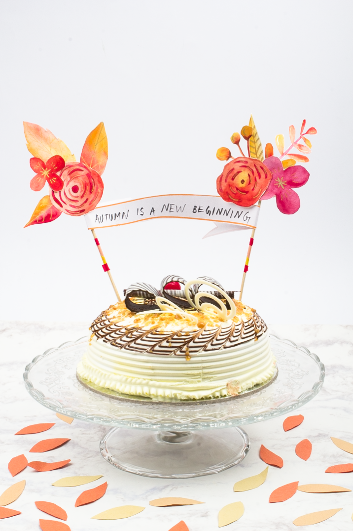 Watercolour Fall Floral Cake Topper DIY- click through for tutorial