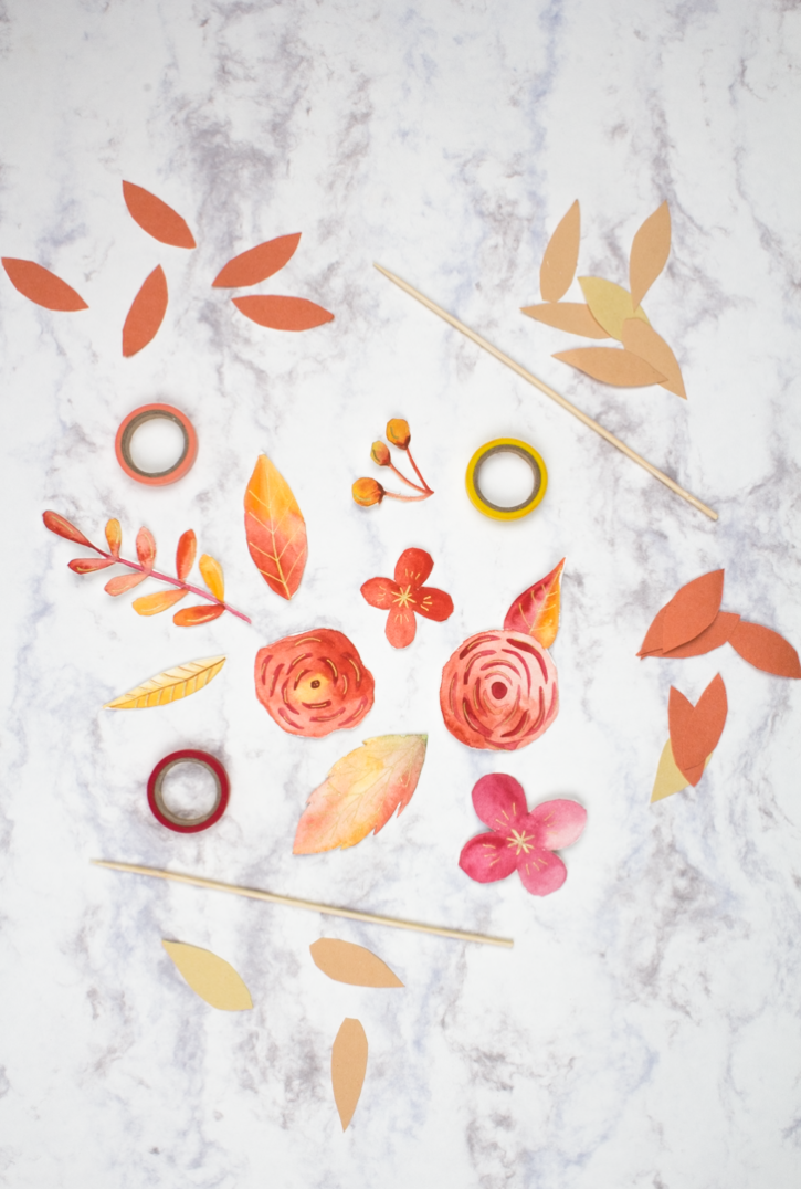 Watercolour Fall Floral Cake Topper DIY