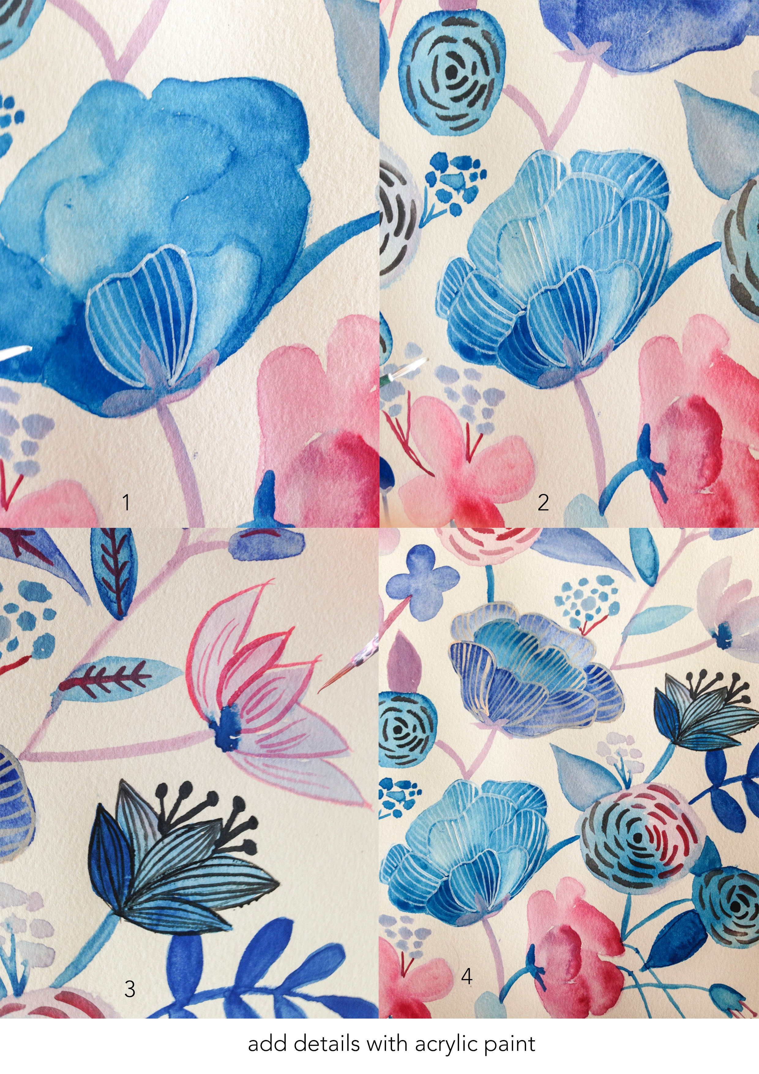 Paint Freehand Watercolour Floral Art - click through for a step by step detailed photo tutorial!
