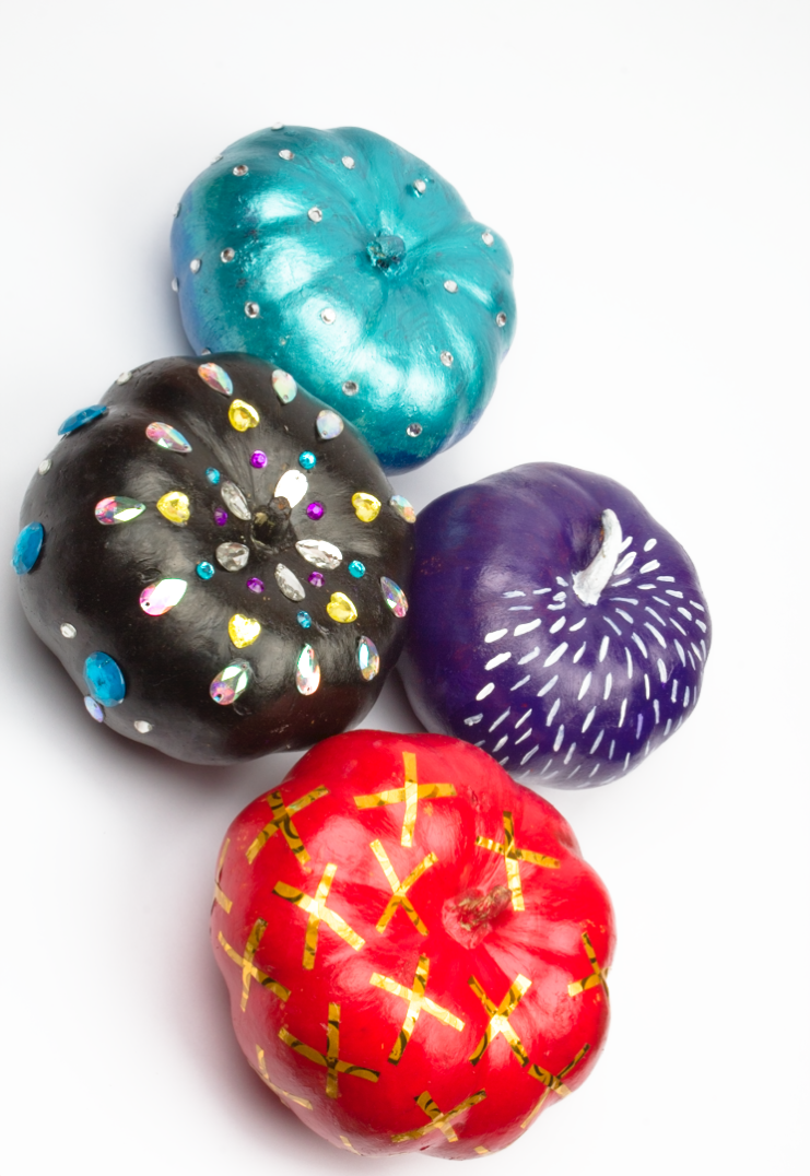 4 Assorted Colourful Fall Pumpkin Ideas-click through for 4 unique decorating ideas!