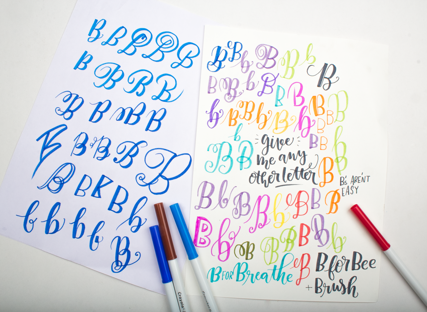 Tools + B. Lettering Challenge for June on instagram @surelysimpleblog and @surelysimplechallenge. An alphabet a day and then some! JOIN IN THE FUN! Here are the calligraphy drills to get started.