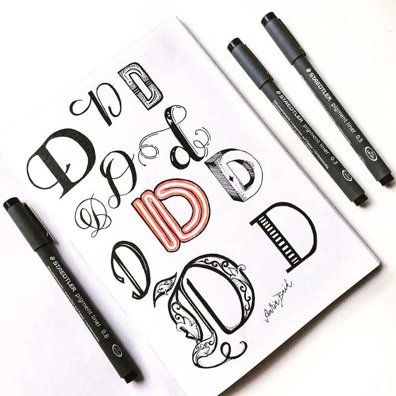 d drills - Lettering Challenge for June on instagram @surelysimpleblog and @surelysimplechallenge. An alphabet a day and then some! JOIN IN THE FUN! Here are the calligraphy drills to get started.
