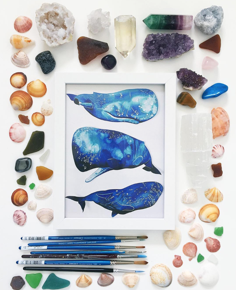 Watercolor Whale Painting/ A Creative Home..with Artist Michelle Fleur in Perth, Australia // Surelysimple.com