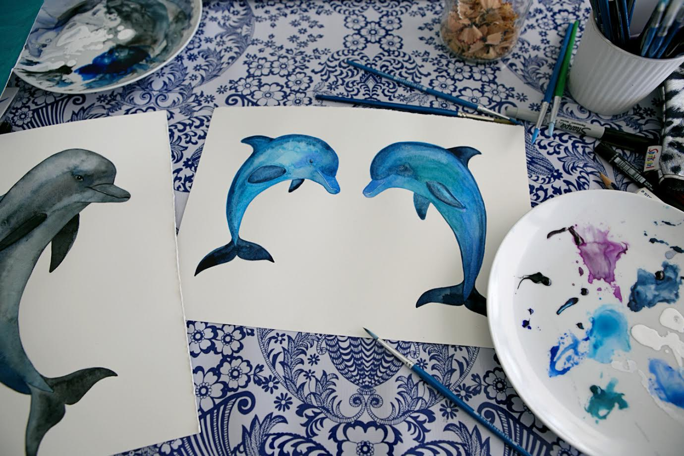 Dolphin Watercolor Sea Painting/ A Creative Home..with Artist Michelle Fleur in Perth, Australia // Surelysimple.com