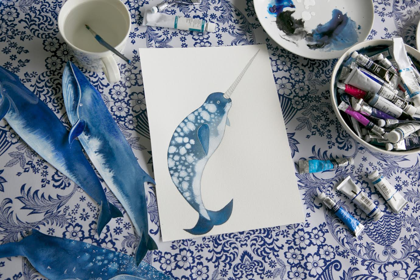 Watercolor Sea Painting/ A Creative Home..with Artist Michelle Fleur in Perth, Australia // Surelysimple.com