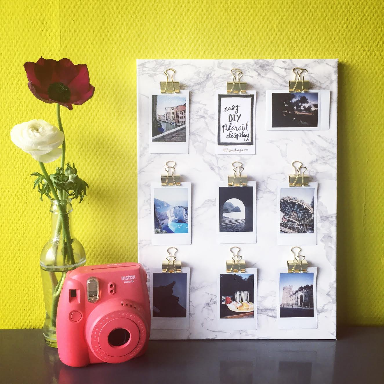 DIY Polaroid Clips Marble Display - via surelysimple.com