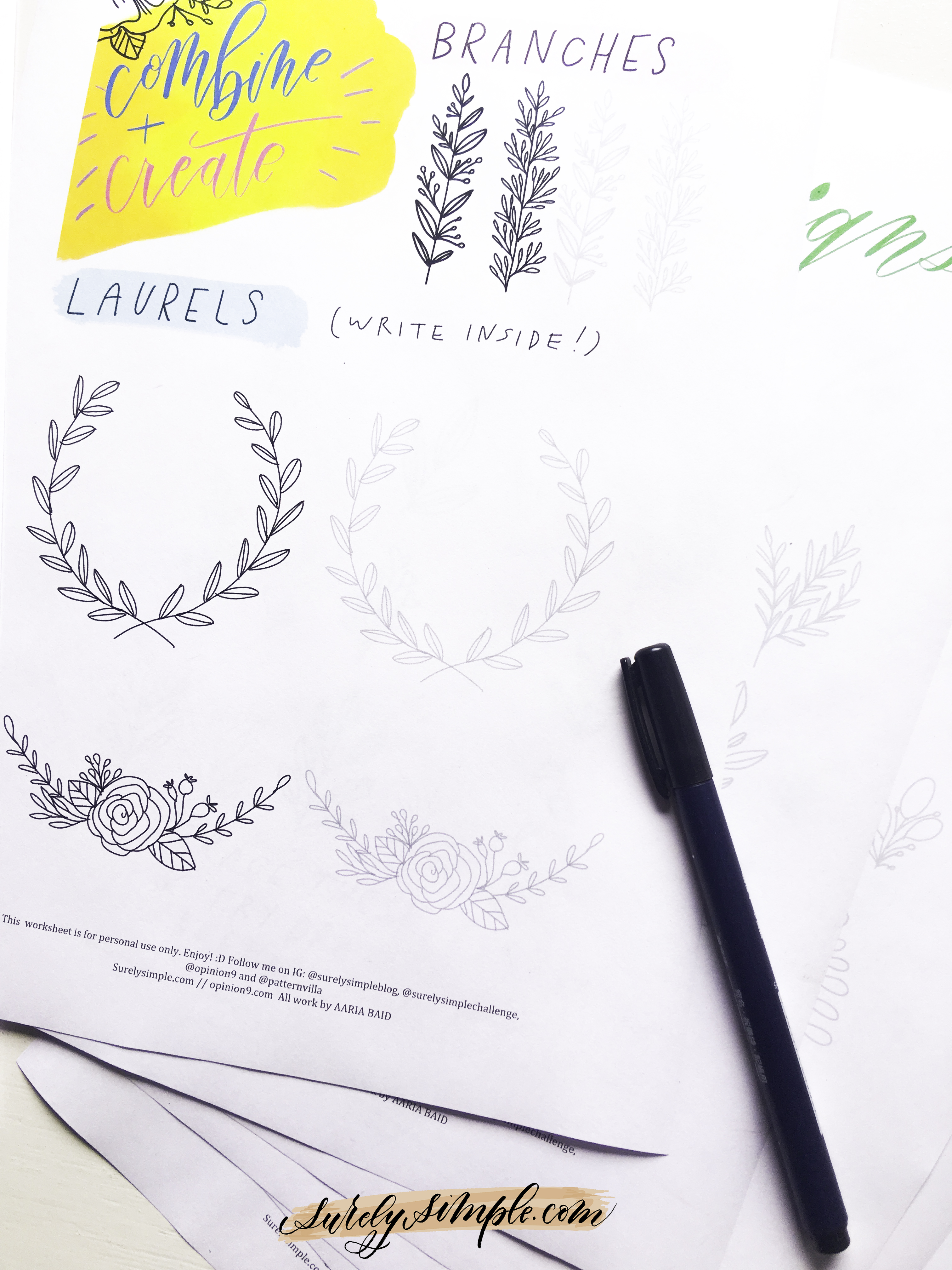 Free Download: Surely Simple Floral Doodles Worksheet! via Surely Simple.com