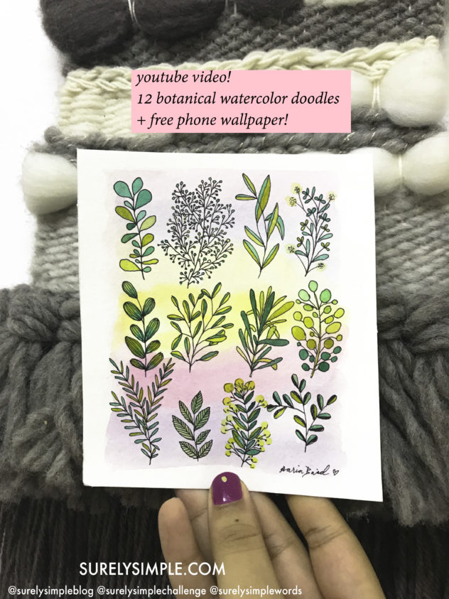 12 Botanical Watercolor Doodles! + Free Phone Wallpaper Surely Simple Youtube Video