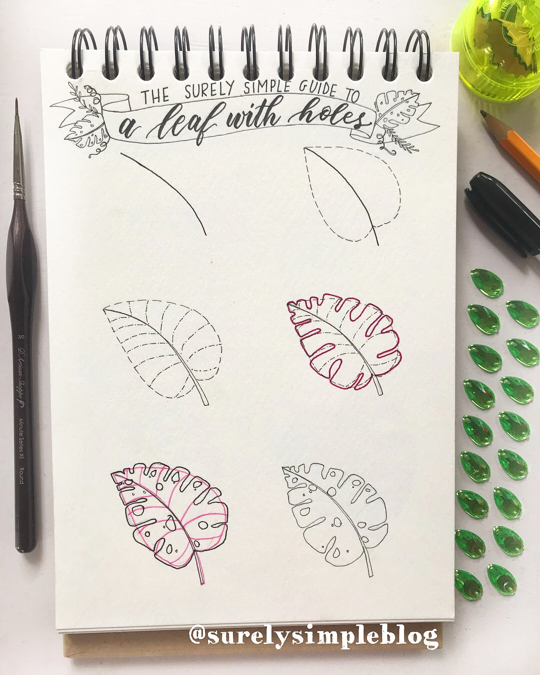 How to Draw // Monstera Delicious Plant - via SurelySimple.com